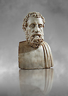 Roman marble sculpture bust of Aeschines, 23BC yo 14 AD Augustin copy from an original 340-330 BC Hellanistic Greek original, inv 6139, Naples Museum of Archaeology, Italy ..<br /> <br /> If you prefer to buy from our ALAMY STOCK LIBRARY page at https://www.alamy.com/portfolio/paul-williams-funkystock/greco-roman-sculptures.html . Type -    Naples    - into LOWER SEARCH WITHIN GALLERY box - Refine search by adding a subject, place, background colour, etc.<br /> <br /> Visit our ROMAN WORLD PHOTO COLLECTIONS for more photos to download or buy as wall art prints https://funkystock.photoshelter.com/gallery-collection/The-Romans-Art-Artefacts-Antiquities-Historic-Sites-Pictures-Images/C0000r2uLJJo9_s0