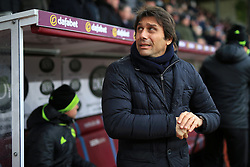 12th February 2017 - Premier League - Burnley v Chelsea - Chelsea manager Antonio Conte feels the cold - Photo: Simon Stacpoole / Offside.
