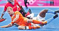 LONDEN - Billy Bakker,maandag in de hockey wedstrijd tussen de mannen van Nederland en India tijdens de Olympische Spelen in Londen .ANP KOEN SUYK
