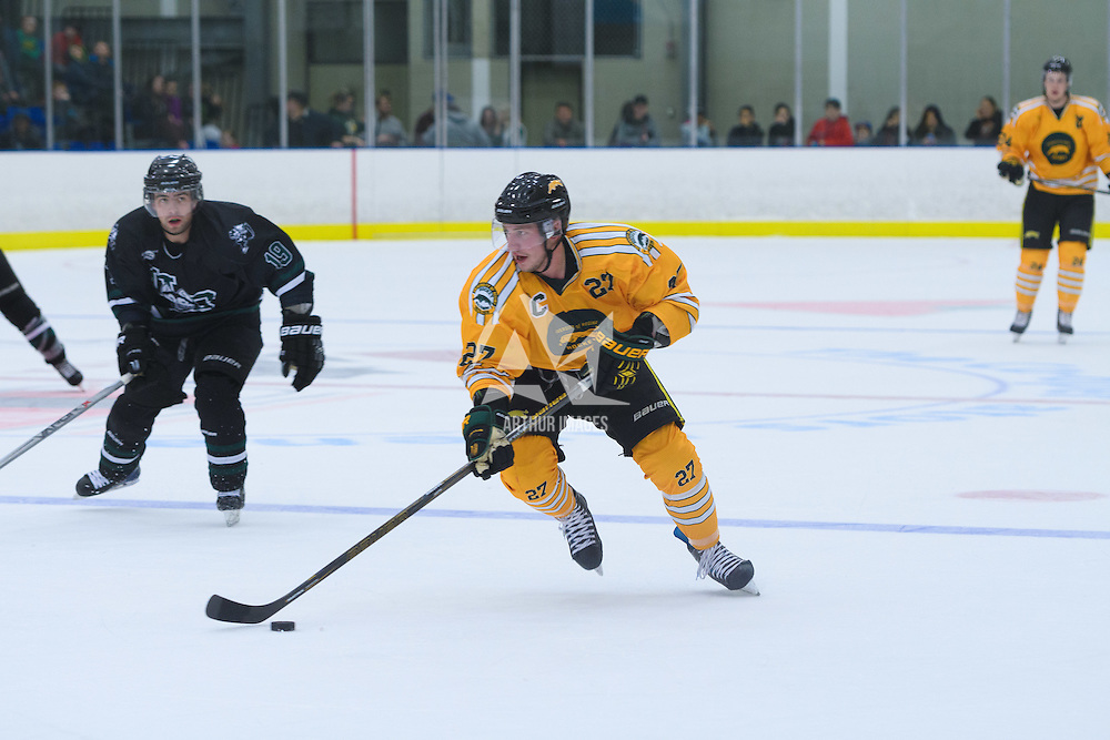 4th year forward Cody Fowlie (27) of the Regina Cougars during the Shine On game on October 28 at The Co-Operators Arena. Credit: /Arthur Images
