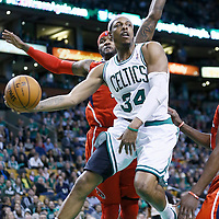 08 March 2013: Boston Celtics small forward Paul Pierce (34) delivers an assist to Boston Celtics power forward Jeff Green (8) during the Boston Celtics 107-102 OT victory over the Atlanta Hawks at the TD Garden, Boston, Massachusetts, USA.