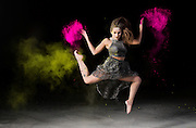 Photo shoot with color powder for a Dance Academy