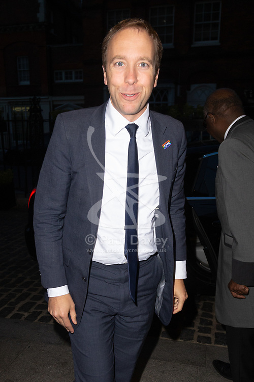 Health Secretary Matthew Hancock arrives at the Daily Mail Health Heroes Awards at the Marriot Grosvenor Square in Mayfair, London. London, September 10 2018.