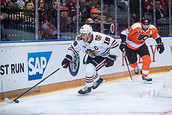 Jonathan Toews  of Chicago Blackhawks and Jakub Voracek of Philadelphia Flyers during NHL game between teams Chicago Blackhawks and Philadelphia Flyers at NHL Global Series in Prague, O2 arena on 4th of October 2019, Prague, Czech Republic. Photo by Grega Valancic / Sportida