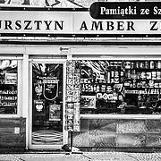 A souvenir shop along the streets of Szczecin, Poland.