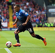 Callum Wilson attacking the Bournemouth goal for another Bournemouth attack during the Sky Bet Championship match between Charlton Athletic and Bournemouth at The Valley, London, England on 2 May 2015. Photo by Matthew Redman.