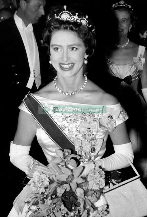 Princess Margaret at a reception given by the City of London at the Mansion House in honour of her return from her visit to the Caribbean. *Scanned from Print. Neg is corrupt