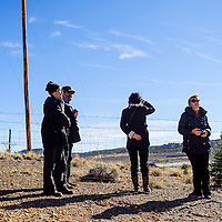 112214       Cable Hoover<br /> <br /> Olga Smirnova, right, and other visitors look out over the site the 1979 uranium tailings spill during a tour of UNC section 17 in Churchrock Saturday.