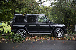 © Licensed to London News Pictures. 21/09/2017. London, UK. A Mercedes-Benz G-Class G63 lies damaged on the side of the road near Chelsea FC training ground.  The expensive 4X4 reportedly belongs to Chelsea midfielder Tiemoue Bakayoko who was returning home from training at 3.30PM today when he crashed on Blundel Lane.  Photo credit: Peter Macdiarmid/LNP
