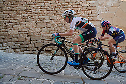 Sophie Wright (GBR) battles up the cobbled climb at the 2020 Clasica Feminas De Navarra, a 122.9 km road race starting and finishing in Pamplona, Spain on July 24, 2020. Photo by Sean Robinson/velofocus.com