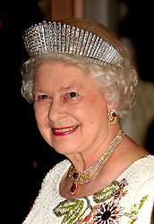 File photo dated 13/05/2008 of Queen Elizabeth II at a State Banquet in Turkey wearing the Queen Alexandra's Russian Kokoshnik Tiara. Princess Eugenie may follow in the footsteps of her mother, Sarah Ferguson, Duchess of York, and wear the York diamond tiara on her wedding day.