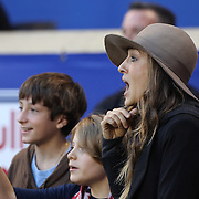 Actress Sarah Jessica Parker on the sidelines watching the teams warm up before the New York Red Bulls Vs Houston Dynamo, Major League Soccer regular season match at Red Bull Arena, Harrison, New Jersey. USA. 4th October 2014. Photo Tim Clayton