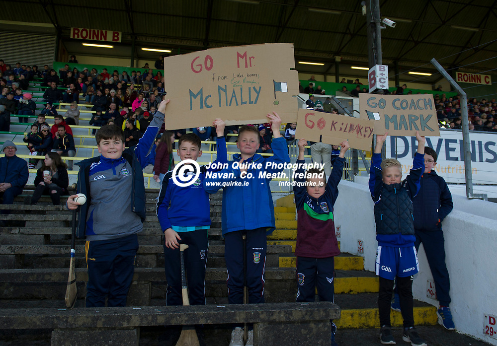 20-10-19. Kiltale v Kildalkey- Meath SHC Final (Replay) at Pairc Tailteann.<br /> Young Kildalkey supporters cheering for their heroes.<br /> Photo: John Quirke / www.quirke.ie<br /> ©John Quirke Photography, Unit 17, Blackcastle Shopping Cte. Navan. Co. Meath. 046-9079044 / 087-2579454.