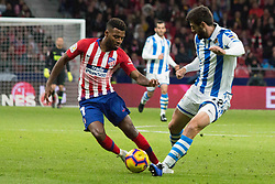October 27, 2018 - Madrid, Madrid, Spain - Lemar (L) and Raul Navas (R)..during the match between Atletico de Madrid vs Real Sociedad. Atletico de Madrid won by 2 to 0 over Real Sociedad whit goals of Godin and Filipe Luis. (Credit Image: © Jorge Gonzalez/Pacific Press via ZUMA Wire)