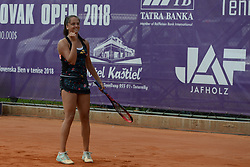 May 20, 2018 - Trnava, Slovakia - VIKTORIA KUZMOVA of Slovakia celebrates winning the Empire Slovak Open tennis tournament in Trnava Slovakia (Credit Image: © Christopher Levy via ZUMA Wire)