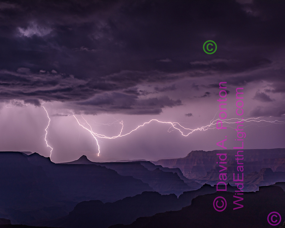 Lightning over the western portion of the Grand Canyon, with cloud-to-ground strikes and a very long cloud -to-cloud strike, Grand Canyon National Park