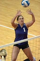 12 November 2006: Stephanie May sets the ball for a hitter. In the final regular season home game at ISU, the Northern Iowa Panthers defeated the Illinois State Redbirds 3 game to 1. The match took place at Redbird Arena on the campus of Illinois State University in Normal Illinois.<br />