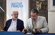 "Lucien Clergue, the french photographer and Jean-Jacques Beucler, director of the french institute,<br />   during  the opening of his exhibition called ""The Intimate Picasso"" at the french institute in Madrid"
