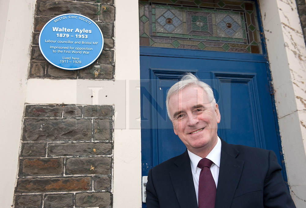 """© Licensed to London News Pictures. 16/02/2017. Bristol, UK. JOHN MCDONNELL MP, Shadow Chancellor, visits 12 Station Road Ashley Down, the former home of Walter Ayles who was imprisoned in 1916 for his opposition to the First World War. In April 2016 the Bristol Remember the Real World War One Group unveiled a plaque on Walter Ayles' former home. The Bristol Radical History Group has just published """"Slaughter No Remedy"""", a short biography of Walter Ayles, written by Colin Thomas and with an introduction by John McDonnell. In 1950, Walter Ayles became the M.P. for Hayes and Harlington, the constituency now held by John McDonnell. In his introduction to the Ayles' biography McDonnell writes: """"I hope I can live up to being half of the socialist and peace promoter he so finely was."""" In the book Ayles is quoted as saying: """"Because horrible outrages and ghastly crimes have been committed by others, that is no reason why I too should kill and maim and destroy…Hate cannot be destroyed by hate. It can only be transformed by love."""" Exactly a hundred years after Ayles appeared before a Military Service Tribunal in what is now the Bristol Register Office, his tribunal was re-enacted. He said """"If I believed in the efficacy of slaughter to remedy evils"""" he told the tribunal, """"I would long ago have advocated the killing of those in England who, year after year, have been responsible for the sweated, the starved and the slummed."""" Then added -""""I know, however, in my heart of hearts that slaughter being wrong is no remedy."""" Photo credit : Simon Chapman/LNP"""