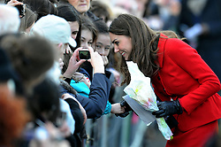 Prince William's fiancee Kate Middleton meets members of the public during a visit to St Andrews in Scotland where she and Prince William first met.