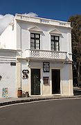 Historic whitewashed cafe building in Haria, Lanzarote, Canary Islands, Spain