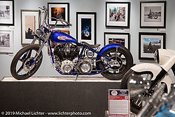 Tom Keefer's retro-rigid custom 1944 Knucklehead in the More Mettle - Motorcycles and Art That Never Quit exhibition in the Buffalo Chip Events Center Gallery during the Sturgis Motorcycle Rally. SD, USA. Monday, August 9, 2021. Photography ©2021 Michael Lichter.