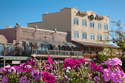 """""""Flowers in Downtown Truckee 2"""" - These flowers and old buildings were photographed along commercial row in historic Downtown Truckee, California."""