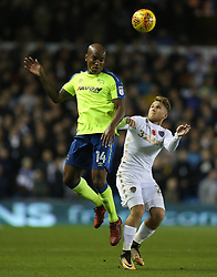 Leeds United's Samuel Saiz (right) and Derby County's Andre Wisdom battle for the ball
