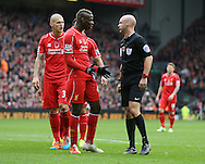 Mario Balotelli of Liverpool remonstrates with referee Anthony Taylor - Barclays Premier League - Liverpool vs Chelsea - Anfield Stadium - Liverpool - England - 8th November 2014  - Picture Simon Bellis/Sportimage
