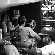Joc Pederson, (right), and Scott Van Slyke, Los Angeles Dodgers, have a prolonged hug before the start of the New York Mets Vs Los Angeles Dodgers MLB regular season baseball game at Citi Field, Queens, New York. USA. 26th July 2015. Photo Tim Clayton
