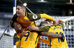 Brighton & Hove Albion's Glenn Murray (bottom far right) celebrates scoring his side's third goal of the game with his team mates Anthony Knockaert (top) Gaetan Bong, Florin Andone and Jurgen Locadia
