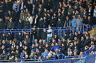 Manchester City fans looking dejected during the 2nd half. The Emirates FA Cup, 5th round match, Chelsea v Manchester city at Stamford Bridge in London on Sunday 21st Feb 2016.<br /> pic by John Patrick Fletcher, Andrew Orchard sports photography.