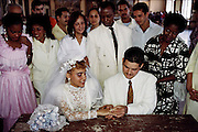A couple is married at the Palacio de Matrimonio (Marriage registry) in Havana, Cuba. Material World Project.