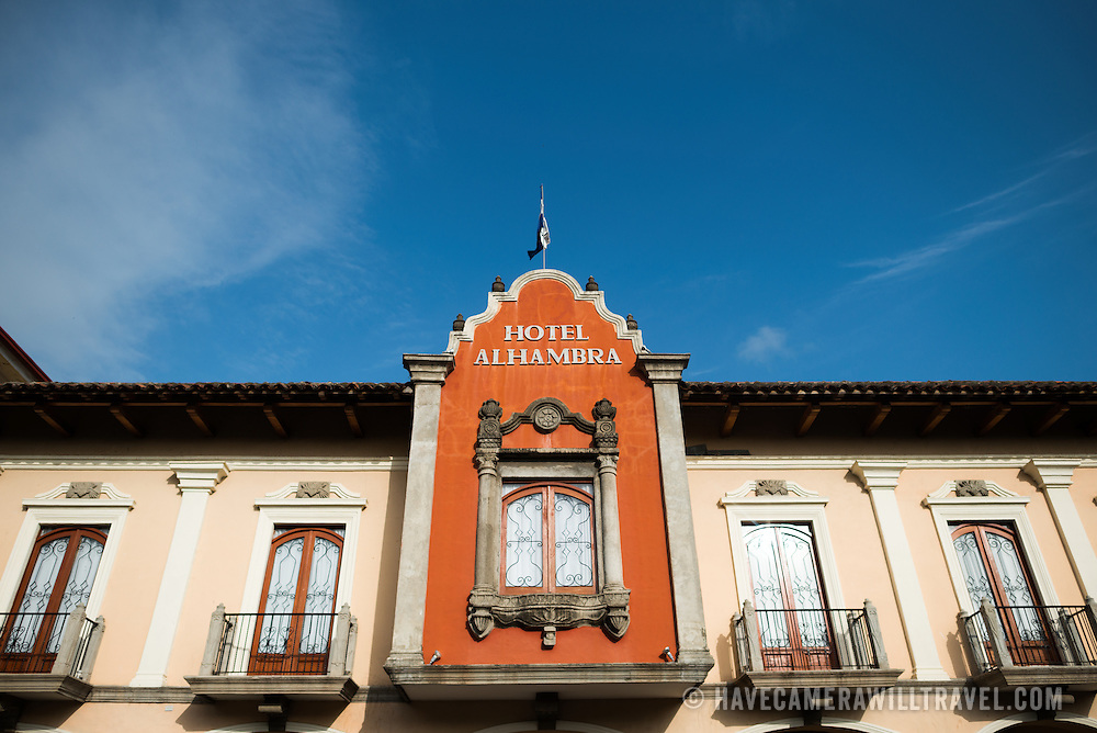 The Spanish colonial architecture of Hotel Alhambra on Parque Central. Parque Central is the main square and the historic heart of Granada, Nicaragua.