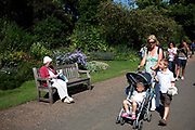 Scene with mother and children going for a walk in St James' Park in central London. One of the Royal parks