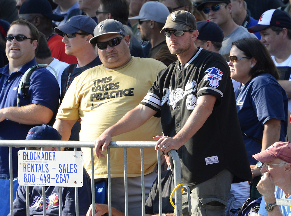 COOPERSTOWN, NY - JULY 27: White Sox fans join thousand of other baseball fans during the annual Parade of Legends down Main Street in Cooperstown, New York on July 27, 2014.
