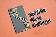 Sign and logo symbol for Suffolk New College, Ipswich, Suffolk, England