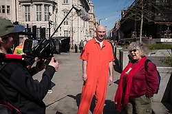 © Licensed to London News Pictures. 02/04/2016. London, UK. British actor Miriam Margoyles (right), who starred as Professor Pomona Sprout in the Harry Potter films, joins protesters in front of the US Embassy in London to call for the release of Steven Avery and Brendan Dassey, both jailed in connection with the 2005 murder of Teresa Halbach in Wisconsin, USA. The case was brought to prominence by the hit Netflix series 'Making a Murderer', which suggests the possibility of foul play in the arrest and convictions of the two men. Photo credit : Rob Pinney/LNP