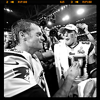 Super Bowl XLIX New England Patriots Tom Brady and Rob Gronkowski celebrate after they won the game.<br /> <br /> ( Tom DiPace)