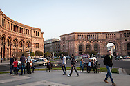 Syrian-Armenians, sit  and talk in Independence Square, central Yerevan, Armenia. The thousands of Syrian-Armenians that have arrived to Armenia since August 2012 have struggled to find jobs and work in a country facing it's own economic challenges.