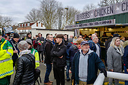 Fans arrive before the The FA Cup 3rd round match between Woking and Watford at the Kingfield Stadium, Woking, United Kingdom on 6 January 2019.