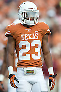 AUSTIN, TX - AUGUST 31: Carrington Byndom #23 of the Texas Longhorns looks on against the New Mexico State Aggies on August 31, 2013 at Darrell K Royal-Texas Memorial Stadium in Austin, Texas.  (Photo by Cooper Neill/Getty Images) *** Local Caption *** Carrington Byndom