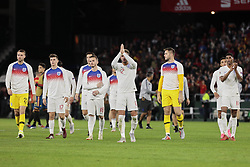 England's players celebrate the victory during UEFA Nations League 2019 match between Spain and England at Benito Villamarin stadium in Sevilla, Spain. October 15, 2018. Photo by A. Perez Meca/Alterphotos/ABACAPRESS.COM