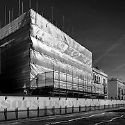 building clad in scaffolding london