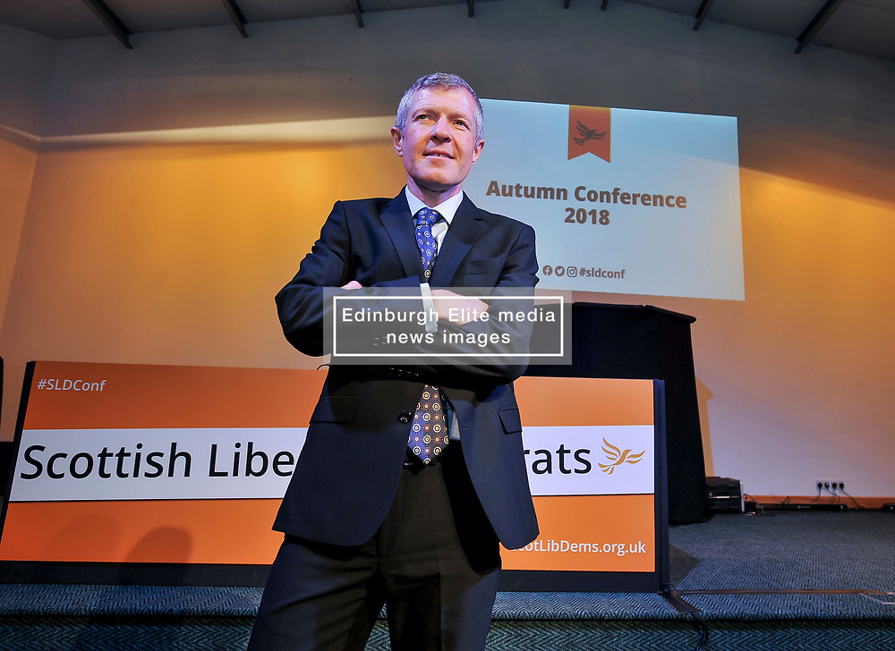 Scottish Lib Dem leader Willie Rennie MSP at the opening of the party's Autumn conference in Dunfermline.<br /> <br /> © Dave Johnston / EEm