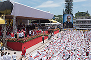 The official portrait of martyred Archbishop Oscar Romero is unveilled. Catholic priests from around the world  arrived at Plaza Salvador del Mundo ( Savior of the World) as El Salvador celebrated a ceremony and mass announcing the beatification of Archbishop Oscar Romero. The Archbishop was slain at the alter of his Church of the Divine Providence by a right wing gunman in 1980. Oscar Arnulfo Romero y Galdamez became the fourth Archbishop of San Salvador, succeeding Luis Chavez, and spoke out against poverty, social injustice, assassinations and torture. Romero was assassinated while offering Mass on March 24, 1980.
