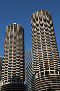 Marina City towers along State Street in Chicago, IL.