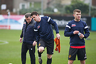 Marine forward Niall Cummins (9) and Marine defender James Joyce (3) in the pre match warm up during the The FA Cup match between Marine and Havant & Waterlooville FC at Marine Travel Arena, Great Crosby, United Kingdom on 29 November 2020.