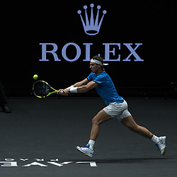 September 23, 2017 - Prague, Czech Republic - Team Europe player Rafael Nadal of Spain returns the ball to Team World player Jack Sock of United States during the second day at Laver Cup on Sept 23, 2017 in Prague, Czech Republic.  The Laver Cup consists of six European players competing against their counterparts from the rest of the World. Europe will be captained by Bjorn Borg and John McEnroe will captain the Rest of the World team. The first Laver Cup held in Europe, at the O2 arena Prague from September 22-24, 2017. (Credit Image: © Robert Szaniszlo/NurPhoto via ZUMA Press)