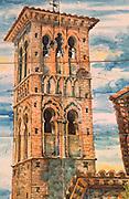 SPAIN, LA MANCHA, TOLEDO tiles of Santo Tome church belltower